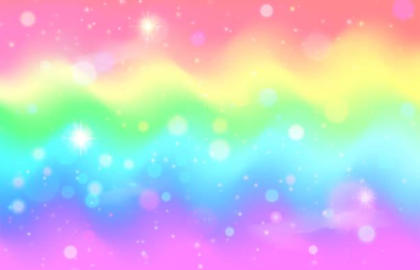 unicorn rainbow wave background. mermaid galaxy pattern - rainbow glitter background stock illustrations