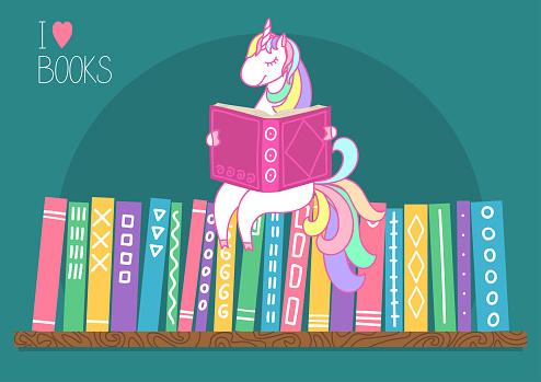 Unicorn reading book on bookshelf