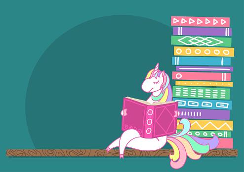 Unicorn reading book on bookshelf.