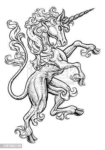 istock Unicorn Rearing Rampant Coat of Arms Crest Horse 1287863135