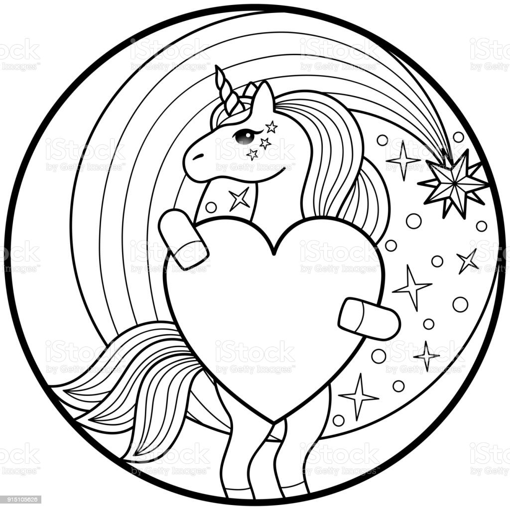Unicorn Round Print Stock Illustration Download Image Now Istock