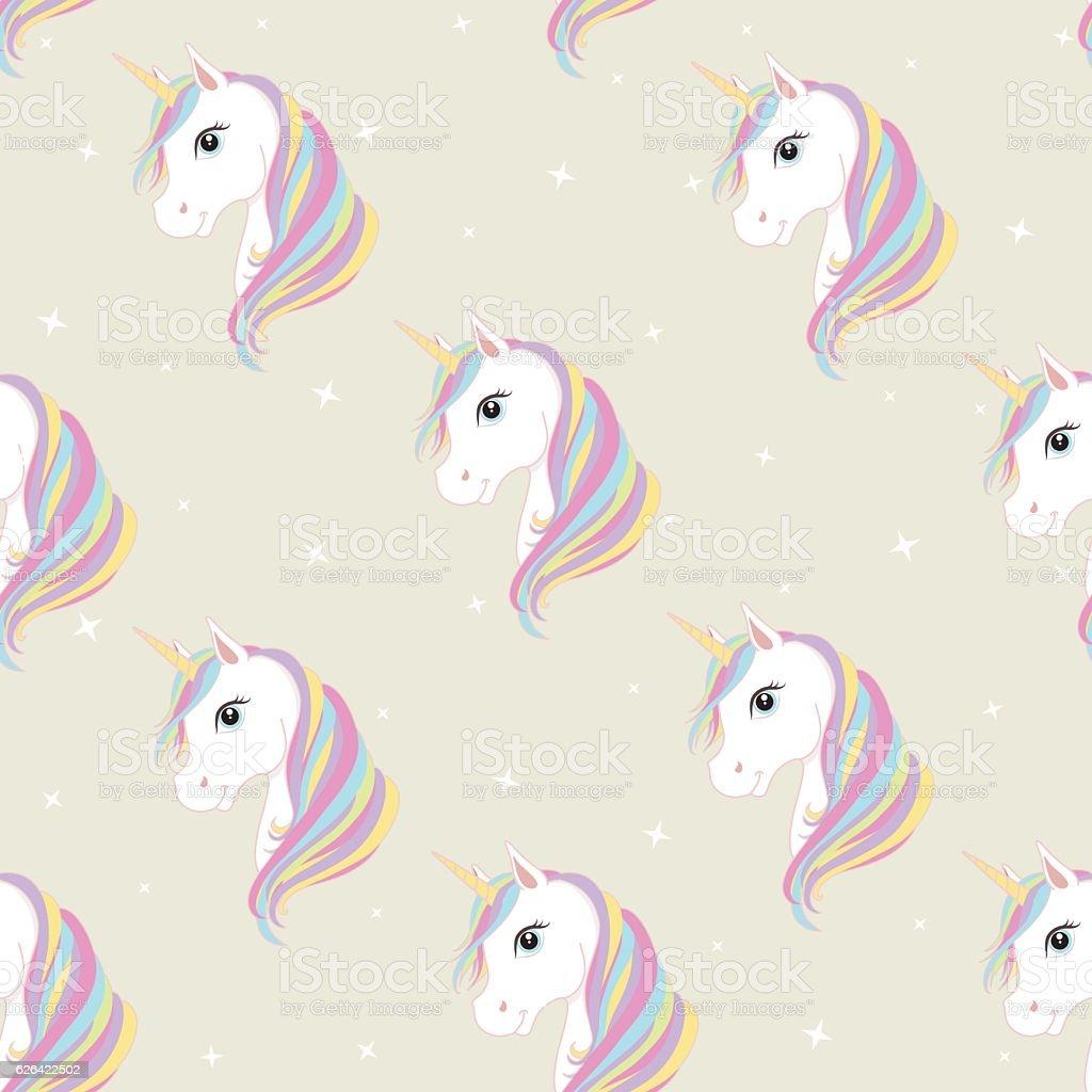 Unicorn seamless pattern. Cute magic fantasy vector wallpaper. vector art illustration
