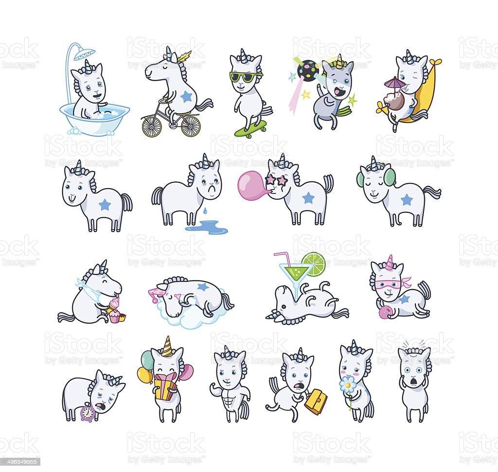 Unicorn set poses vector art illustration