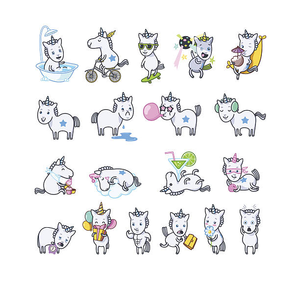 unicorn set poses - tears of joy emoji stock illustrations
