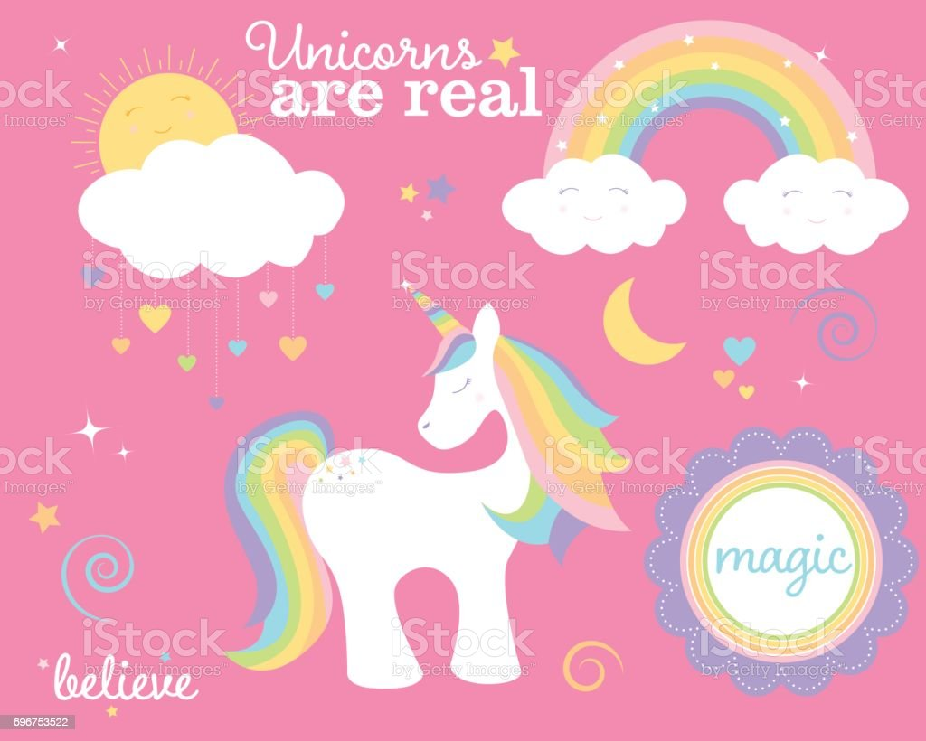 Unicorn Set vector art illustration