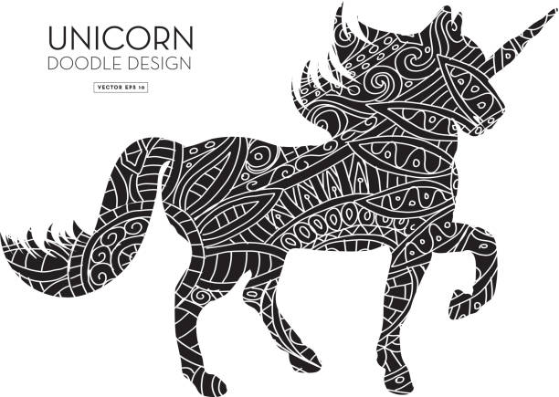 unicorn silhouette doodle coloring book texture - unicorn line drawings stock illustrations, clip art, cartoons, & icons
