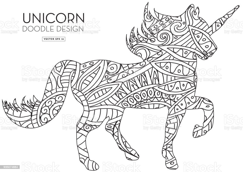 Unicorn Silhouette Doodle Coloring Book Texture Stock Illustration