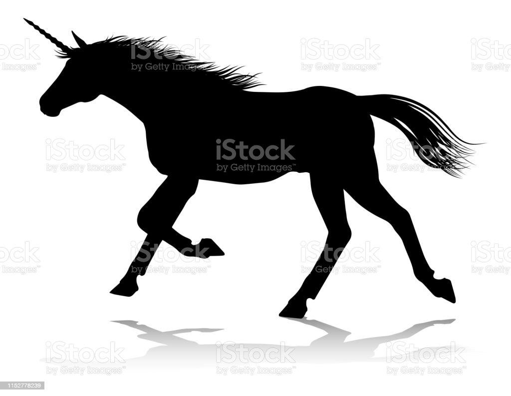 Unicorn Silhouette Horned Horse Stock Vector Art & More