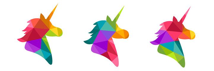 Unicorn silhouette made in colorful low poly design