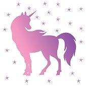 Unicorn silhouette, pink