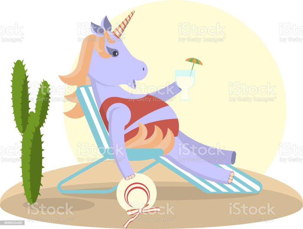 Unicorn sits on a deckchair vector art illustration