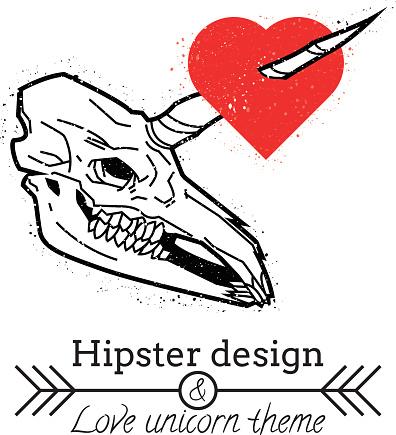 Unicorn skull with heart