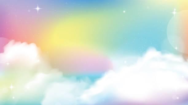 Unicórnio céu colorido gradiente - ilustração de arte em vetor