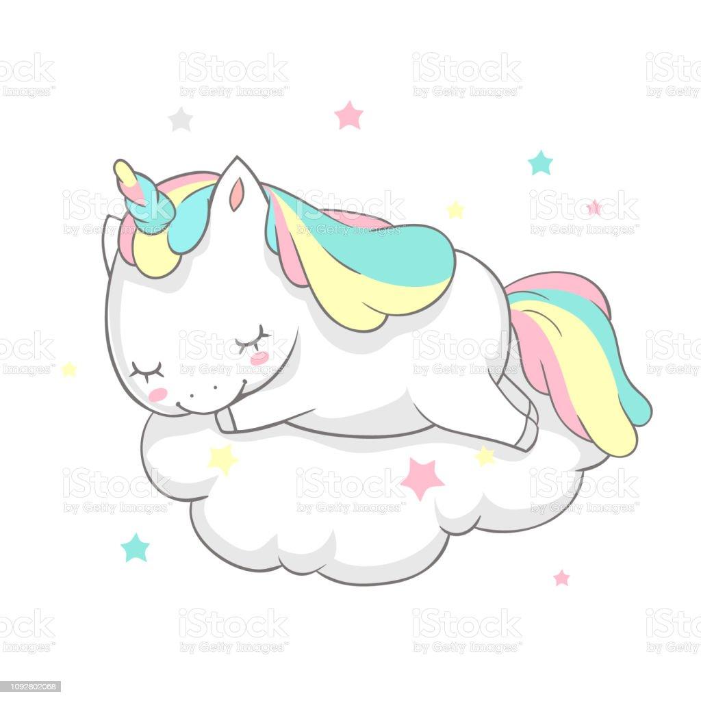 Unicorn Sleep Fairy Dream Poster Vector Template Magic Card
