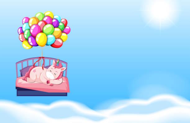 ilustrações de stock, clip art, desenhos animados e ícones de unicorn sleeping in bed sky background - unicorn bed