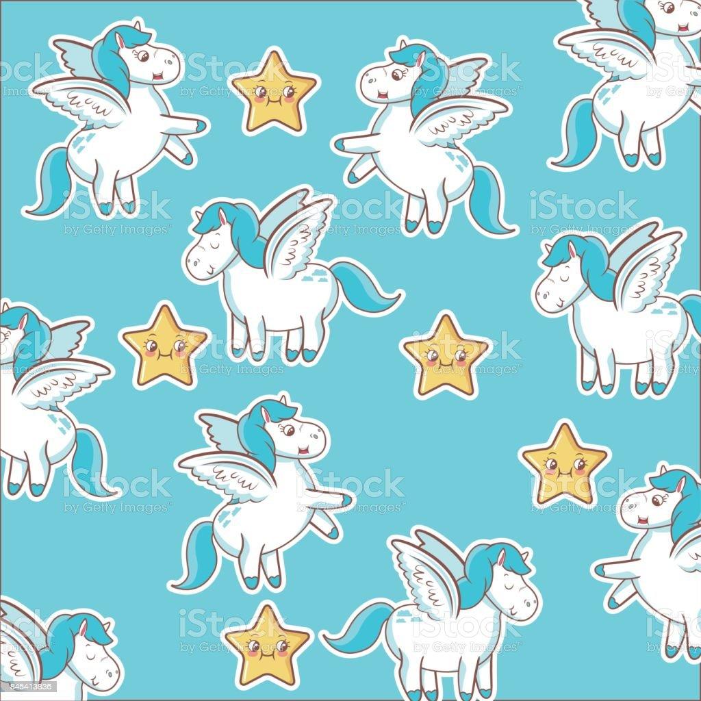 ユニコーンの星の装飾魔法動物壁紙 - おとぎ話のベクターアート素材や