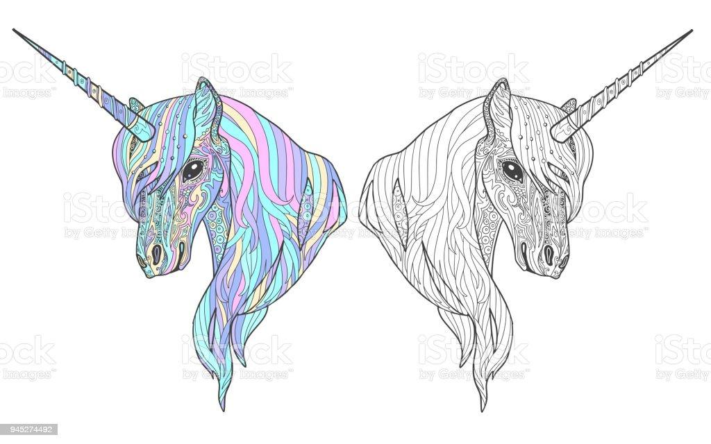 Ilustración de Unicornio Animal Página De Libro De Colorear De ...