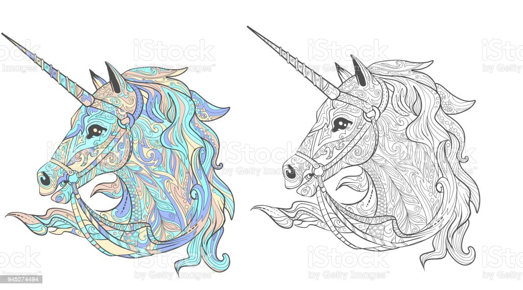 Unicorn Tales Animal Page For Adult Coloring Book With Sample Stock ...