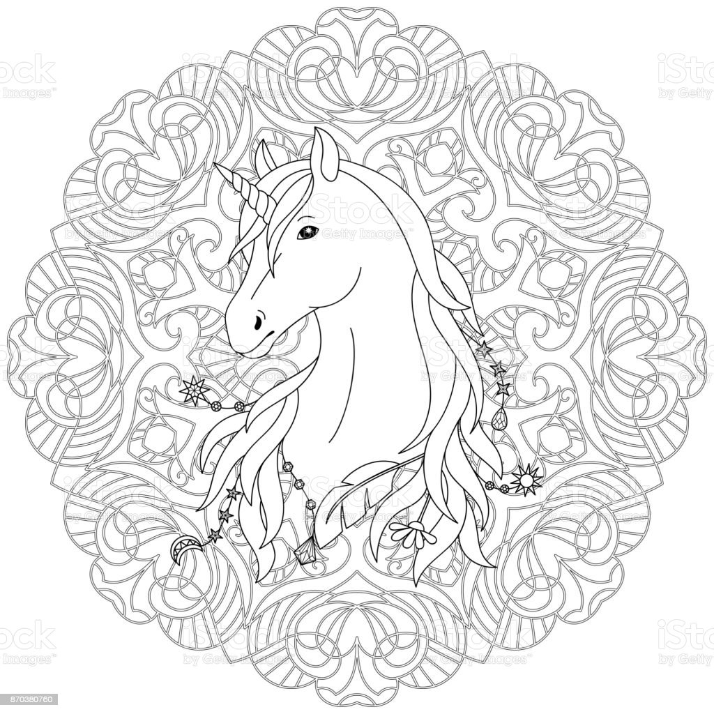 Unicorn Tattoo Coloring Page Stock Vector Art More Images Of