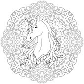 Coloring Book Unicorn Tattoo Page