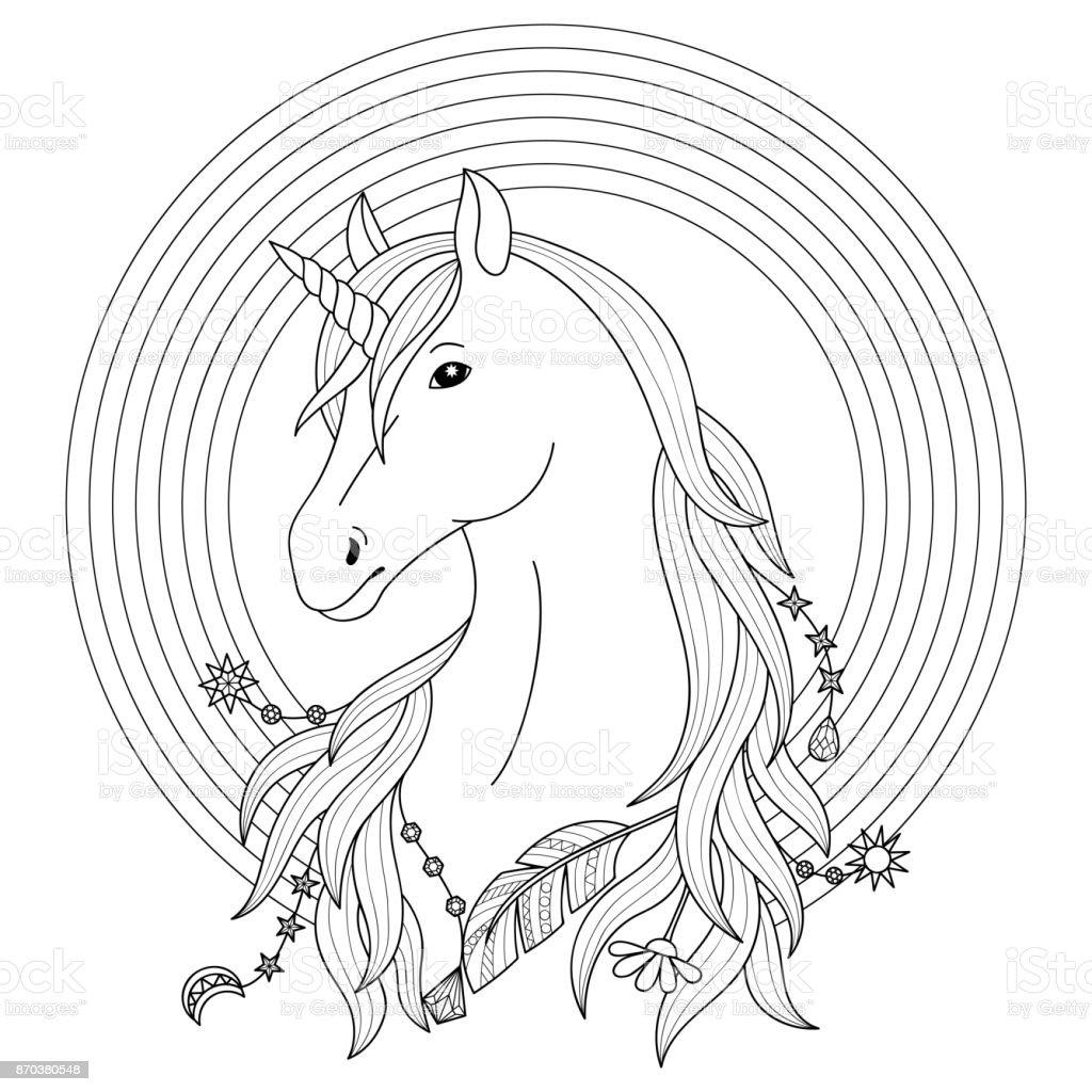 Ilustración de Tatuaje De Unicornio Con Arco Iris y más banco de ...