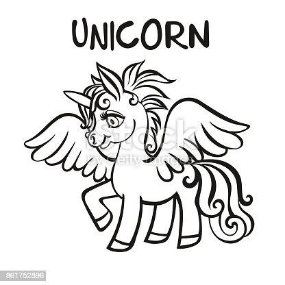 Ilustración de Unicornio Ilustraciones Vectoriales Páginas De Libro ...