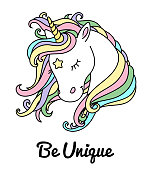 Beautiful unicorn vector head with rainbow hair, mane and inscription be unique. Design for t-shirt, notebook, cup, greeting card and etc.