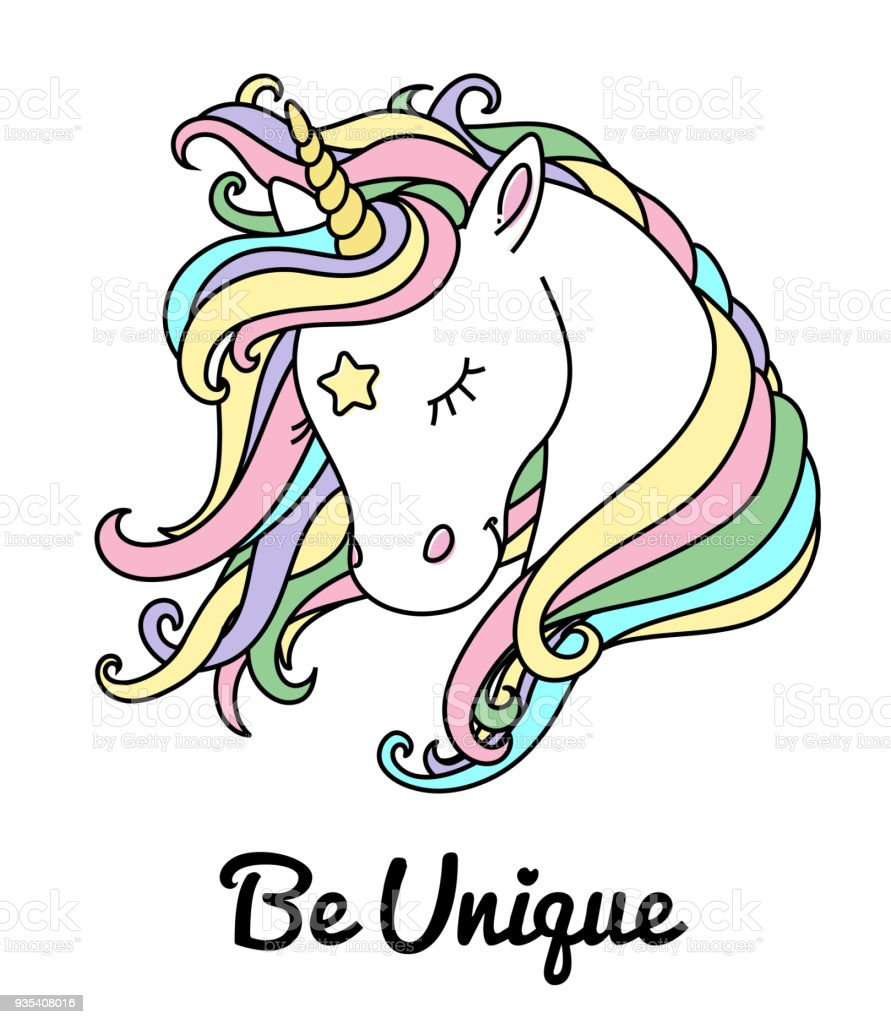 Unicorn vector head with rainbow hair and inscription be unique. vector art illustration