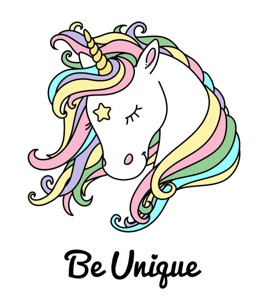 unicorn vector head with rainbow hair and inscription be unique. - unicorns stock illustrations