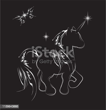 magic butterfly and the shining unicorn, night card,