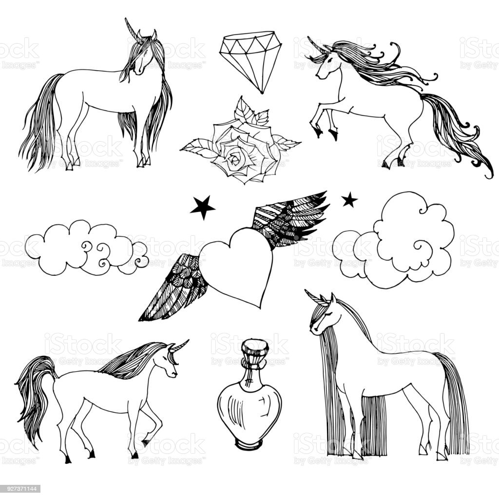 Unicorn Unicorn. Hand drawn vector illustration Animal stock vector