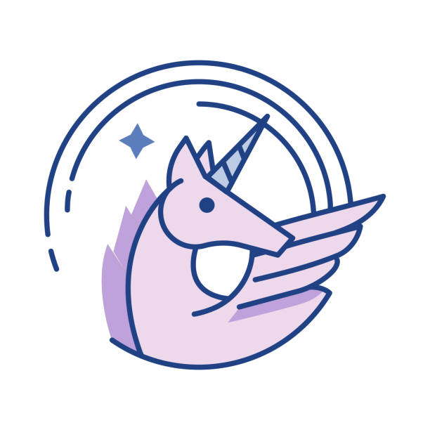 unicorn - unicorn line drawings stock illustrations, clip art, cartoons, & icons