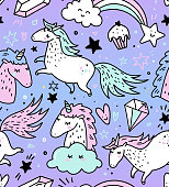 Hand drawn seamless pattern with unicorns, rainbows confetti and other elements. Vector background doodle or cartoon style.