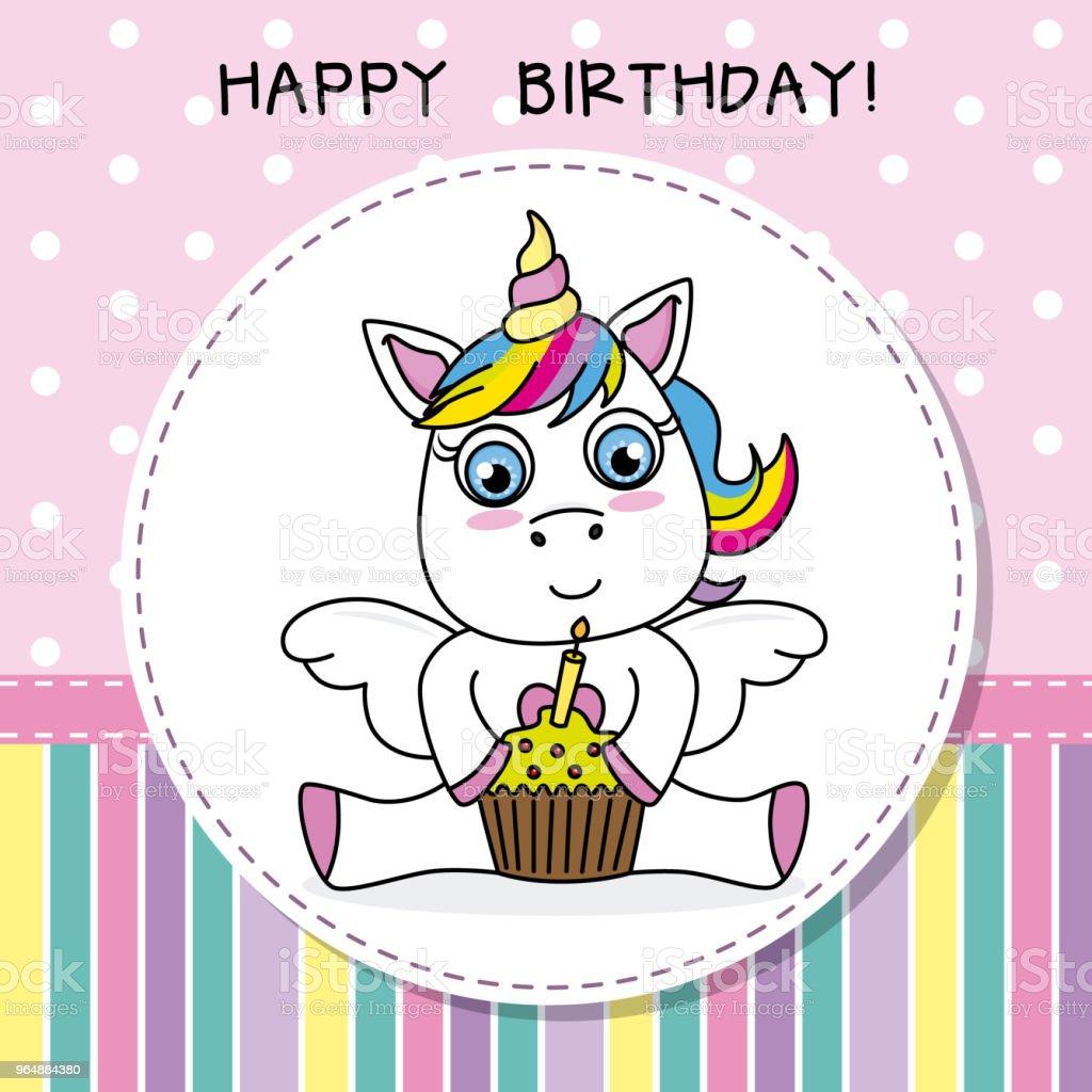 unicorn with cake royalty-free unicorn with cake stock illustration - download image now