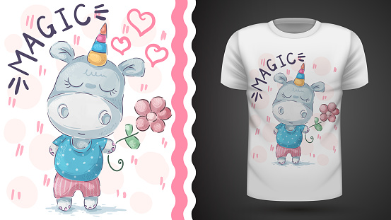 Unicorn with flower - idea for print t-shirt