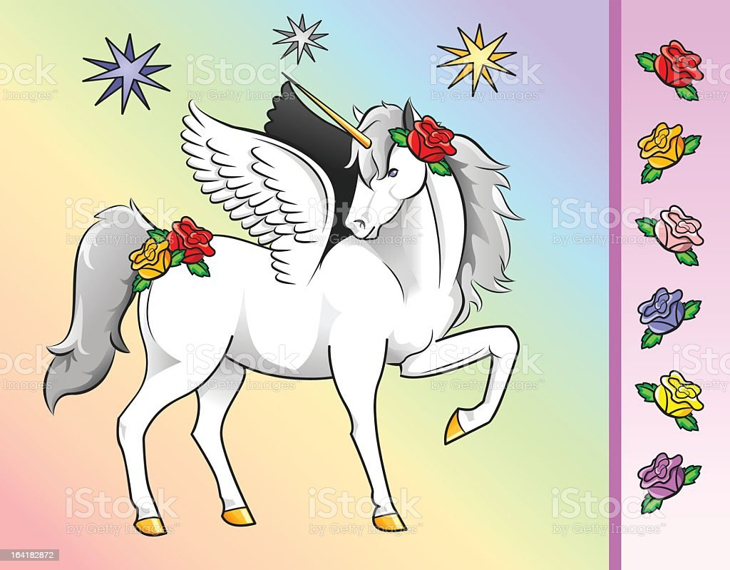 Unicorn with Flowers royalty-free unicorn with flowers stock vector art & more images of animal