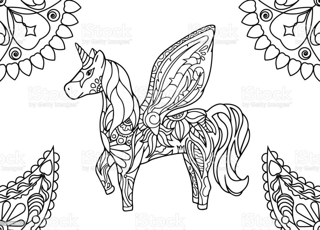 Coloriage Licorne Fee.Licorne Avec Des Mandalas Coloriage Vecteurs Libres De Droits Et