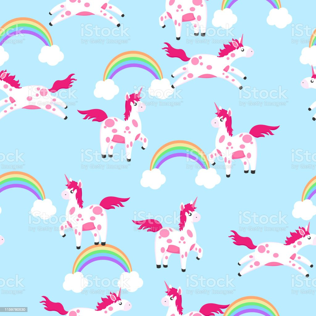 pattern with cute unicorn for gift paper, textile or another your...
