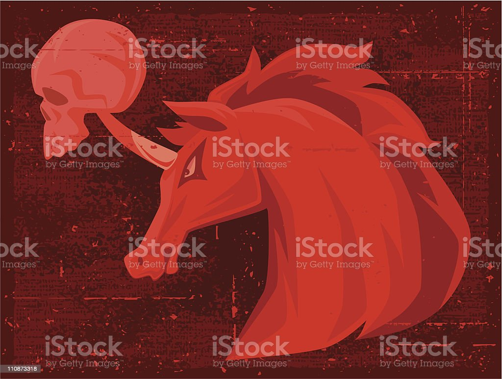 unicorn with skull royalty-free stock vector art
