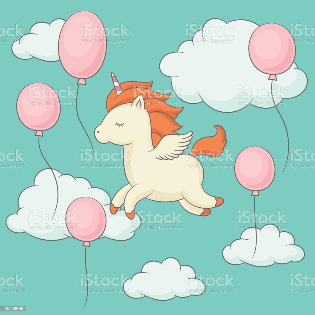 Unicorn with wings flying in the sky unicorn with wings flying in the sky - immagini vettoriali stock e altre immagini di abbigliamento casual royalty-free