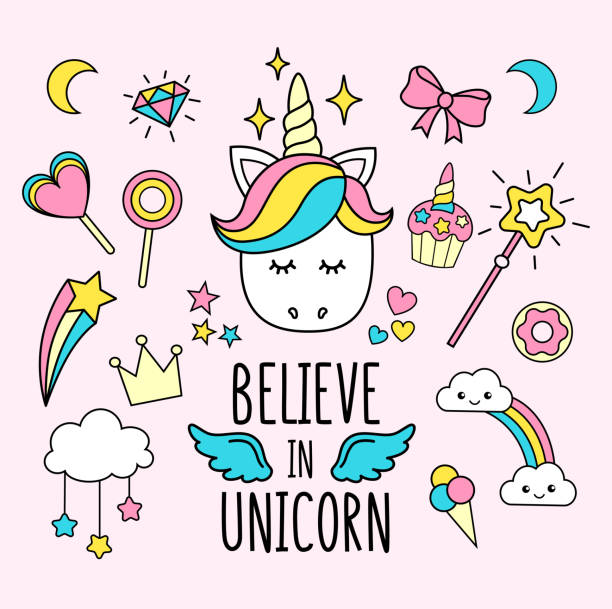 Unicorns and rainbows cute set. Believe in unicorns inscription with doodles. Cute illustration for print, poster, greeting card etc. Unicorns and rainbows cute set. Believe in unicorns inscription with doodles. Cute illustration for print, poster, greeting card etc. unicorn stock illustrations