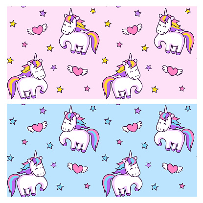 Unicorns and winged hearts on a pink and blue background.