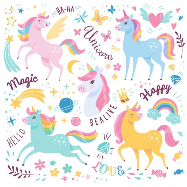 Unicorns collection. Vector illustration of cute cartoon multicolored Unicorns with rainbow mane. Isolated on white background. unicorns stock illustrations