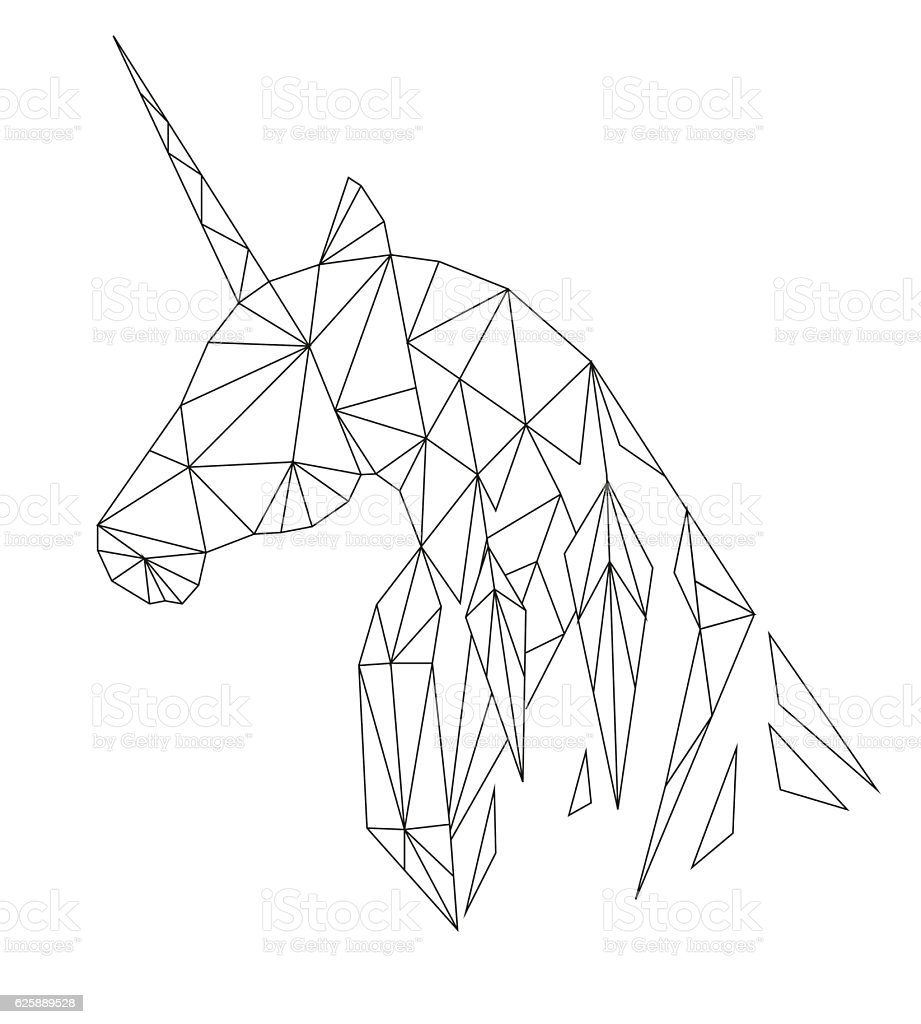 Unicorns Head In The Polygonal Style Isolated On White ...