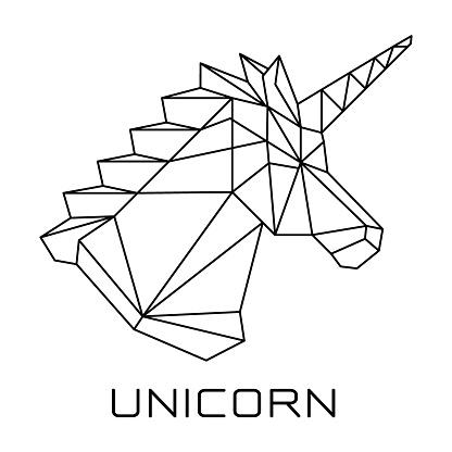 Unicorn's head Polygonal geometric vector.