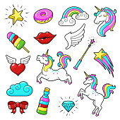 Unicorns icon set. Cute fantasy creature with magic abilities and amazing rainbow color. Vector flat style cartoon illustration isolated on white background