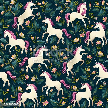 istock Unicorns on a dark background with a fairy forest. Seamless pattern. 1224780866