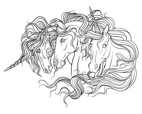 Unicorns portraitss vector illustration coloring book page