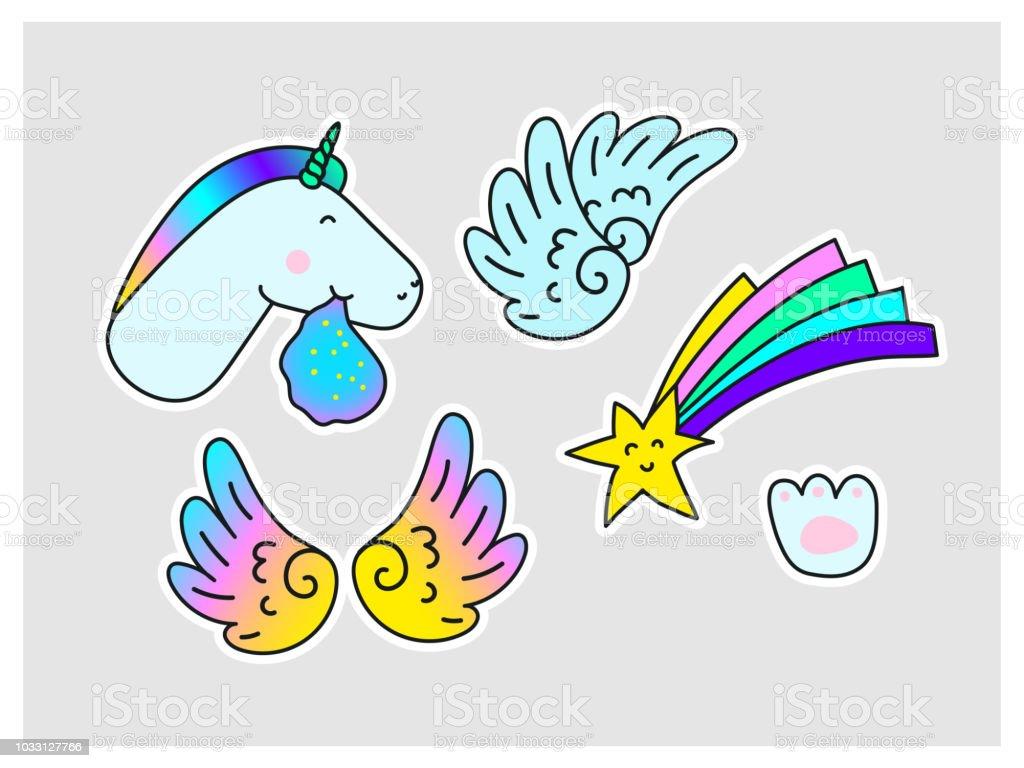 Unicorns Star Wings Paw Print Fantasy Vector Stickers Set Stock