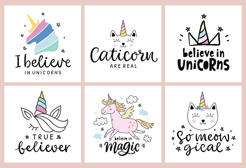 Unicorns vector cute hand drawn lettering poster templates set
